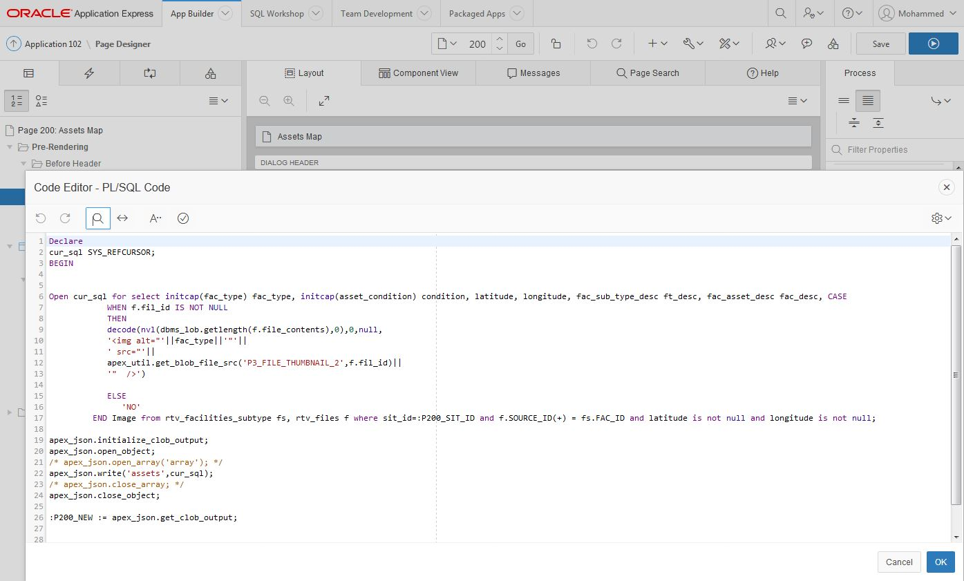 Integrate leaflet map with Oracle APEX 5 using jQuery and apex_json